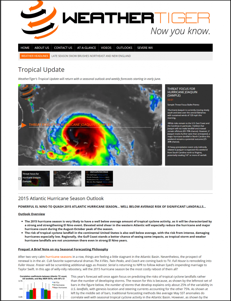 Sample Tropical Weather Page