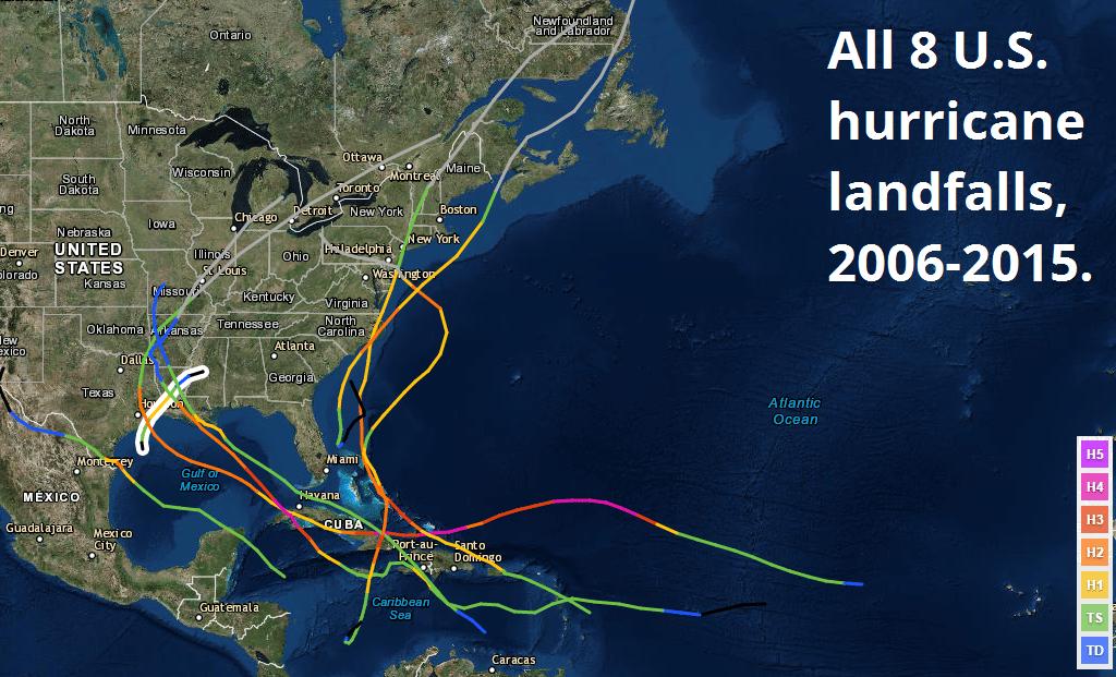 Welcome To Weathertigers 2016 Hurricane Season Outlook Weathertiger - Us-hurricane-landfall-map